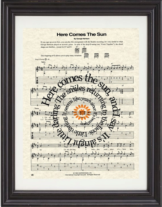 The Beatles Here Comes The Sun Song Lyric By Texasgirldesigns
