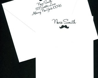 Personalized Mustache Stationery - Set of 20