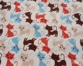 SALE - Cute Cats on Ivory - Half Yard (12ma1028)