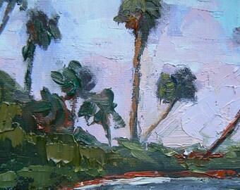 "Impressionist art,Tropical Landscape, Florida Painting, 6x8 Oil Painting ""Intercoastal Evening"""