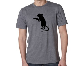 Funny TShirt - GERBIL with a GUN - Sustainable Tee Shirt - Funny Gifts for Friends