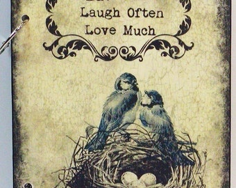 Vintage Birds And Nest Eat Well Laugh Often Love Much Custom Personalized Wood Blank Recipe Book