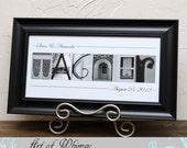 Personalized Wedding Gift , Anniversary Gift , Bridal shower , Couples Gift , Newlywed Gift , Alphabet art Photos , Premium BB Black Framed