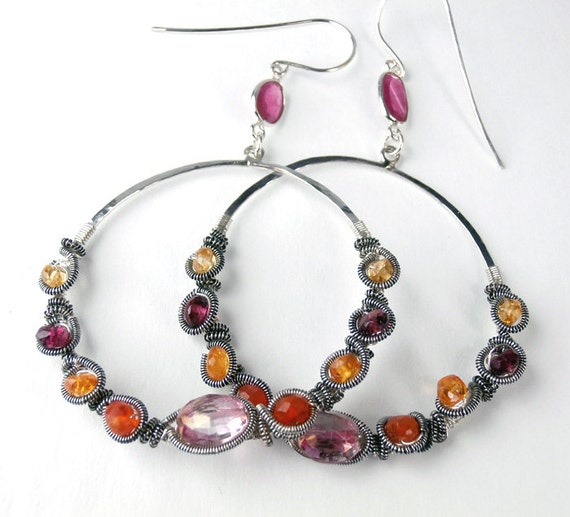 Beaded Hoop Earring  Hammered Sterling Silver Coiled Wire Wrapped