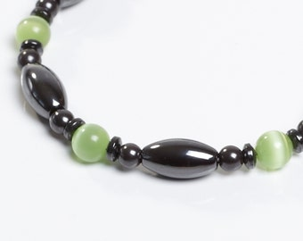 Green and Magnetite Magnetic Therapy Anklet by Happy and Healthy Magnetic Jewelry