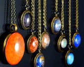 The Maria Planet Necklaces Science Astronomy Glass Tile Solar System Pendants