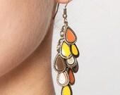 Enamel Chandelier Leaves Ochre Tones Earrings