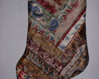 Handmade Victorian Quilted Large Christmas Stocking