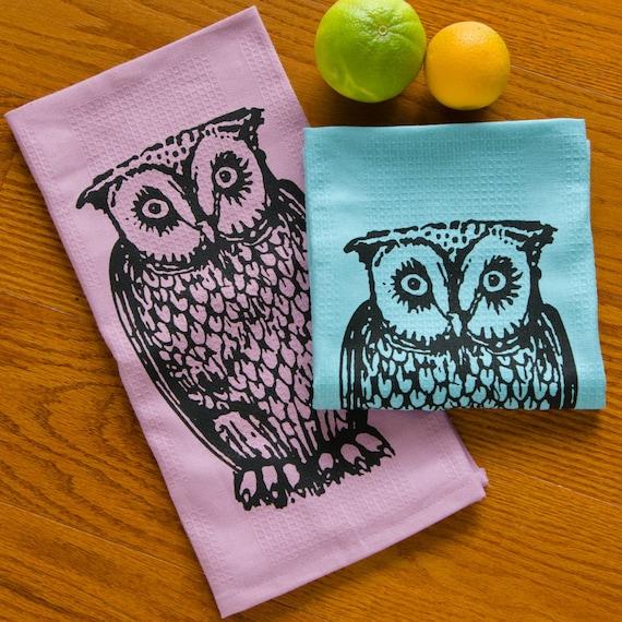 owl tea towel set of two dish towels-hand printedmodern333