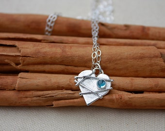 Mended Heart. Sterling Silver Heart with stone. Birthstone heart necklace. Healing heart. Broken heart