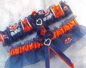 Handmade wedding garters keepsake and toss AUBURN UNIVERSITY wedding garter set