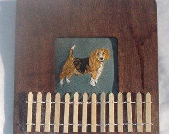 Beagle Dog Portrait Miniature Embroidered Framed