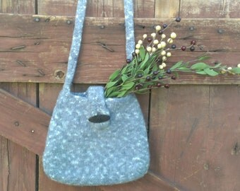Felted wool purse gray with white specks