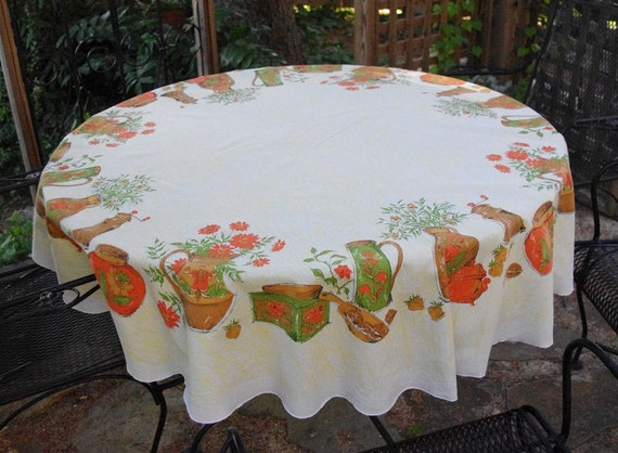 Fun Round Tablecloth in Sixties or Seventies Earthy Kitchen Design