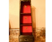 Vintage retro shelf black red gold wash upcycled revamped drawer wall table knickknack shabby