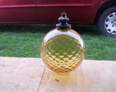Vintage 1960s 1970s yellow golden lamp shade round globe circle retro reserved for monica