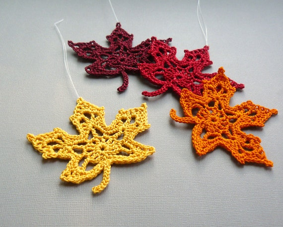4 Crochet Maple Leaf Ornaments -- Multicolored Autumn Leaves -- Assortment M2
