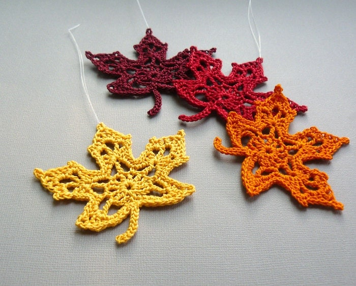 Free Maple Leaf Potholder Crochet Pattern : 4 Crochet Maple Leaf Ornaments Multicolored Autumn Leaves