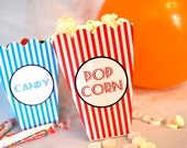 Popcorn and Candy mini printable boxes party favors DIY cute retro pattern