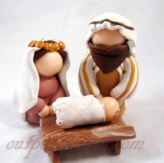 Reserved For Annette Christmas Nativity Set Polymer Clay