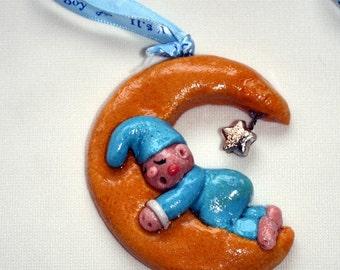 Sleeping Baby on a Half Moon Salt Dough Ornament