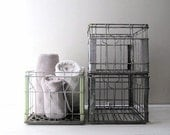rustic wire milk crate metal bin - sanitary farm dairy 1959