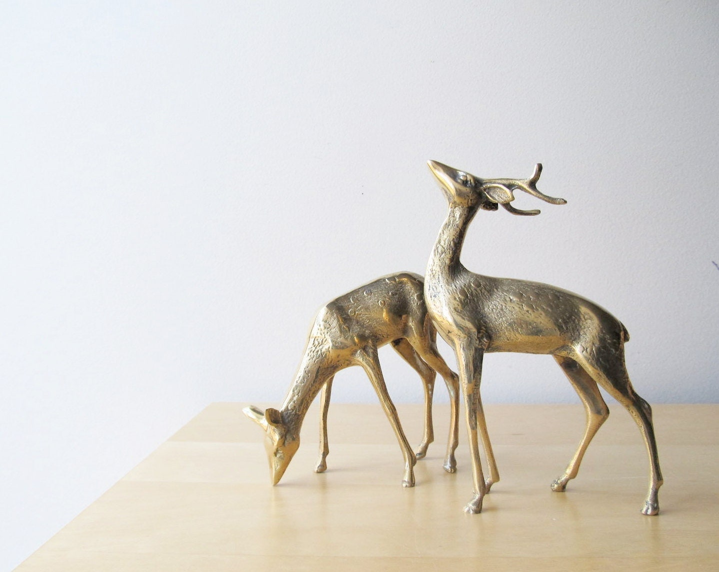 Brass Deer Figurines Buck And Doe Holiday Decor