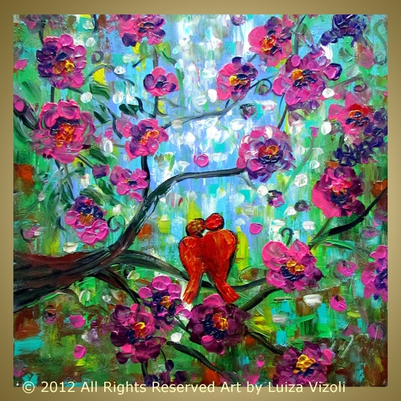 Original Painting Flowers Tree Branches Birds palette knife impressionist Made to Order 20x20
