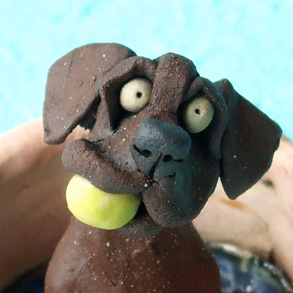 Chocolate Labrador Retriever with Ball in Kiddie Pool Ceramic Sculpture