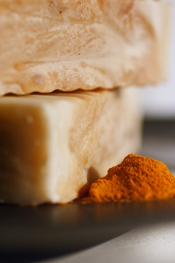 Turmeric Patchouli Organic Body Soap - Great for Sensitive Skin, Eczema, Acne, Psoriasis, Palm Oil Free, Wrapped in Seeded Paper