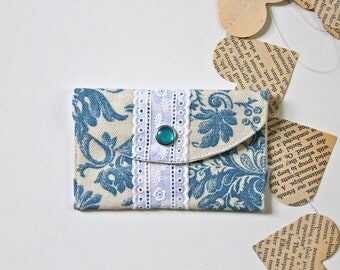 Fabric credit card wallet - Necklace holder - Blue & white with lace