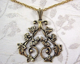 Vining Flowers Filigree Brass Necklace, Delicate Flowers and Leaves, Antiqued Finish, Long Chain with Embellishments, Extender Heart Charm