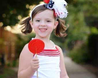 Red, Navy, and White July 4th School Uniform Over The Top  Bow on Matching Headband Free Shipping On All Addional Items