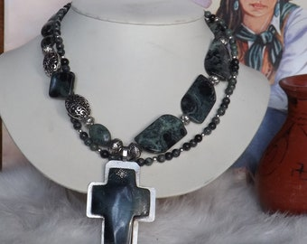 Just reduced from 85.00  Soothing Green Kambama Jasper Southwest Necklace with Cross Pendant