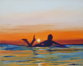 "GICLEE reproduction on 8 1/2 x 11"" fine art PAPER - Sunset Paddle by Daina Scarola (surfing, surf art, surfer girl, silhouette, summer)"