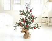 Mini Christmas Tree & Garland, Felt Ball Garland, Rustic Holiday Decoration, Natural Red White Felted Candy Cane