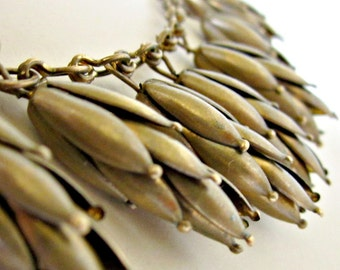 Vintage Collar Necklace with Wheat Shafts Brass Egyptian Brass Necklace