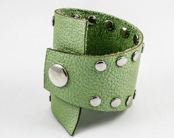 Studded Asymmetrical Leather Cuff (Apple Green) - Size Medium
