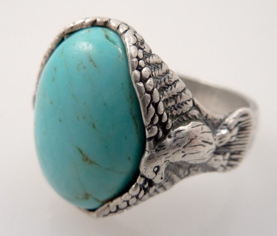 RESERVED for dancingbear23 - Vintage Size 10 1/2 Sterling Eagle Butressed Turquoise RIng