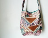 SALE // the floral twin triangle bag.. vintage print, eco-friendly crossbody bag