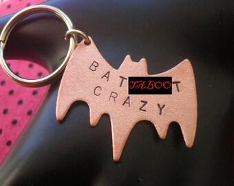 BATSHIT CRAZY Keychain - Batshit Cray, Bat Keychain, Bird Keychain, Bird Charm Key Ring, Animal Charm, Stamped Copper, Metalwork, Mature
