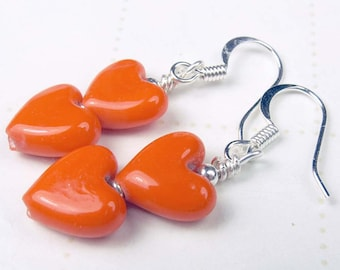 Orange glass puff hearts, heart earrings, orange earrings, Halloween, Thanksgiving, summertime