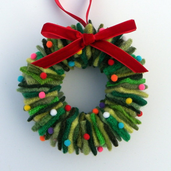 Rescued Wool Wreath Ornament Mixed Greens With Pom Poms