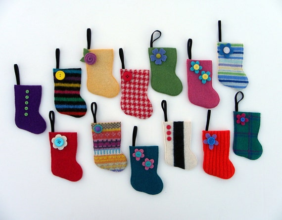 Advent Calendar -Rescued Wool Mini Stocking Ornaments - Set S - set of 25 - recycled sweater wool by alicia todd