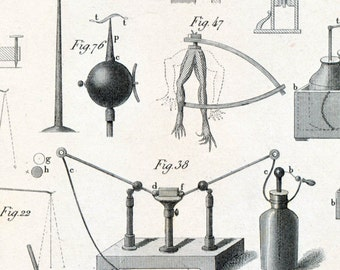 1851 Antique Steel Engraving of Magnets, Compasses, Leyden Jars, and Other Lab Equipment. Plate 20