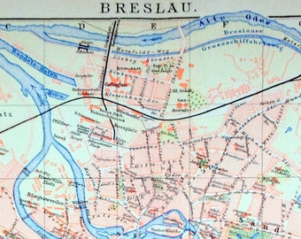 1894 German Vintage Map of Breslau / Wroclaw, Poland (Two-panel Version) - Vintage City Map - Old City Map