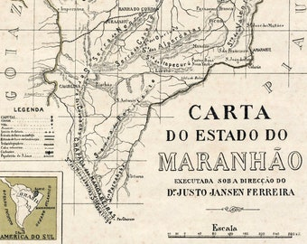 1922 Antique Map of the State of Maranhao, Brazil - Maranhao Antique Map - Small and Tan and Old and Lovely Map