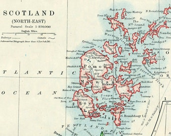 1914 Vintage Map of North East Scotland. With the Shetland Islands and Orkney Islands