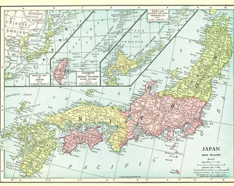 Vintage Map of Japan - Formosa - Kurile Islands - Antique 1913  Map