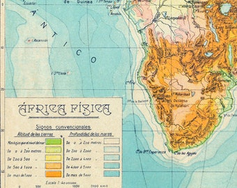 1940 Spanish Vintage Physical Map of Africa
